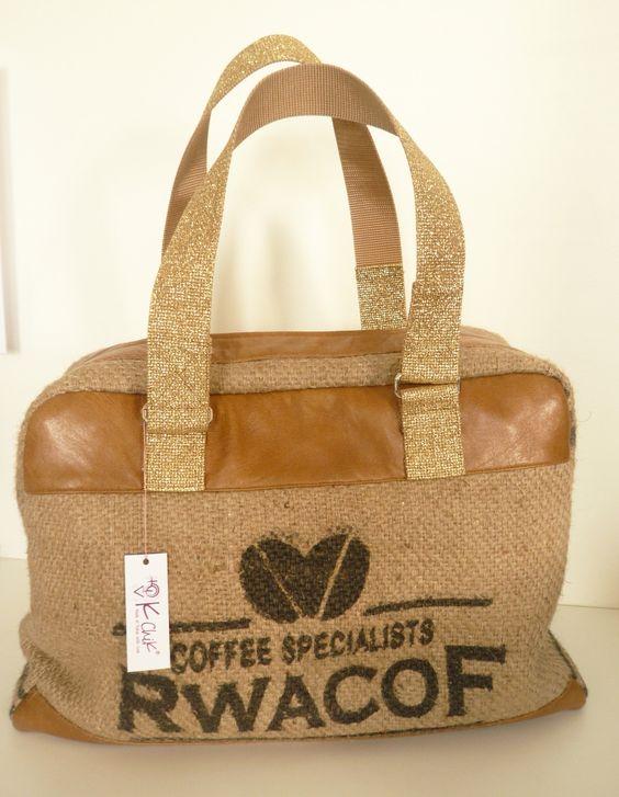 sac bowling en sac de caf recycl et cuir gold toile jute et bowling. Black Bedroom Furniture Sets. Home Design Ideas