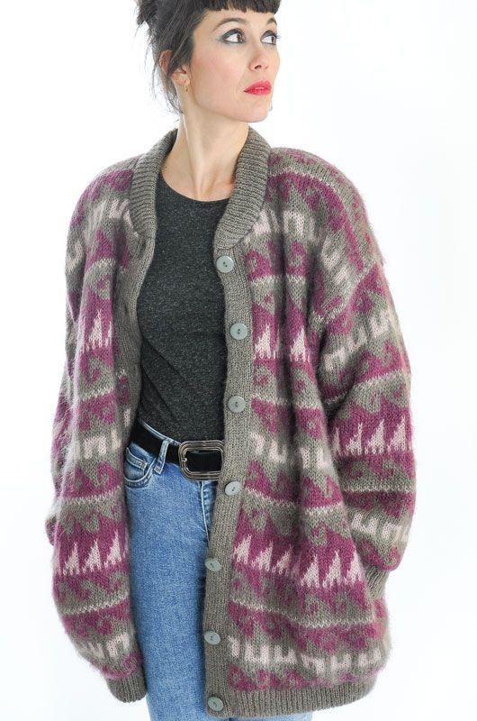 chaqueta punto frueso estampado antiguo mujer