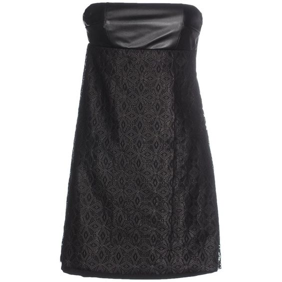 M.grifoni Denim Short Dress ($260) ❤ liked on Polyvore featuring dresses, black, black lace dress, short black cocktail dresses, sleeveless dress, black zipper dress and black lace cocktail dress