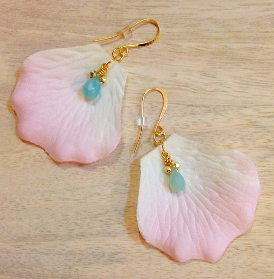 flower petal earrings with aqua blue amazonite by FioriDiCuore, $29.00
