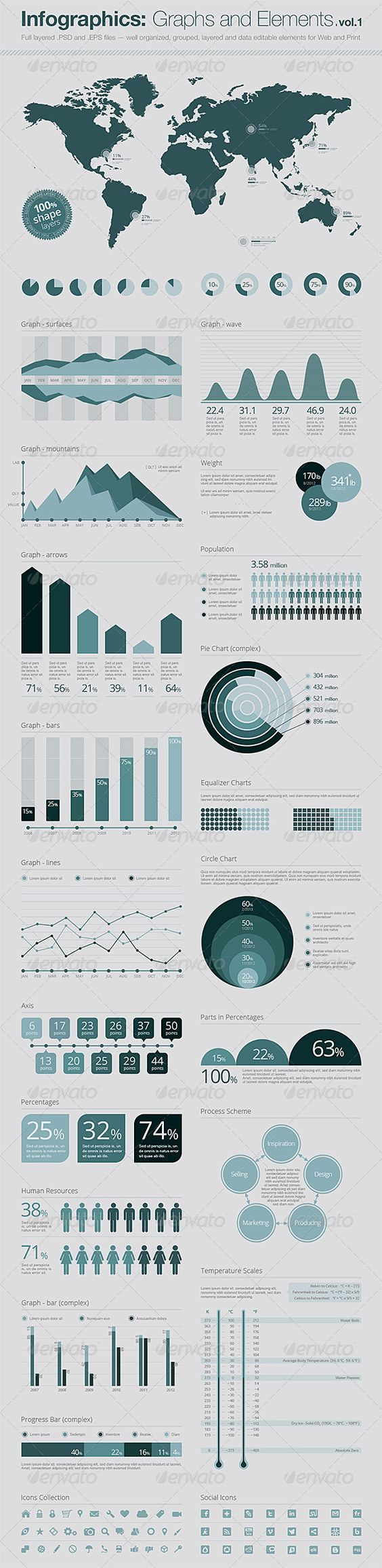 Infographics - Infographics: Vector Graphs and Elements Vol.2   GraphicRiver