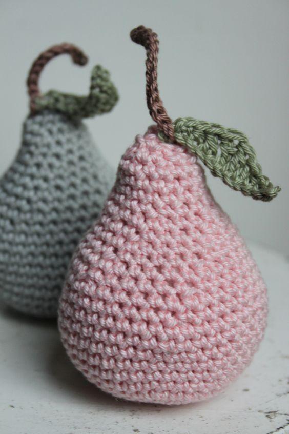 Crochet pear - peertje haken vintage peer in mooie kleuren gehaakt met Mr. Cey Cotton: