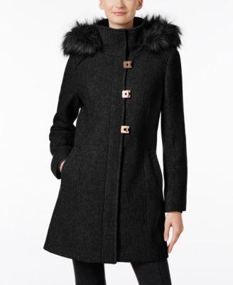 CALVIN KLEIN Calvin Klein Faux-Fur-Trim Wool-Blend Walker Coat. #calvinklein #cloth # coats