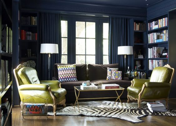 Blue Amp Lime Green Eclectic Library Office Design With Bold