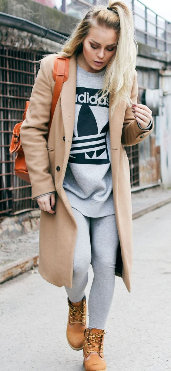 Camel Coat On Gray Adidas Pant Set Fall Street Style Inspo by Angelica Blick: