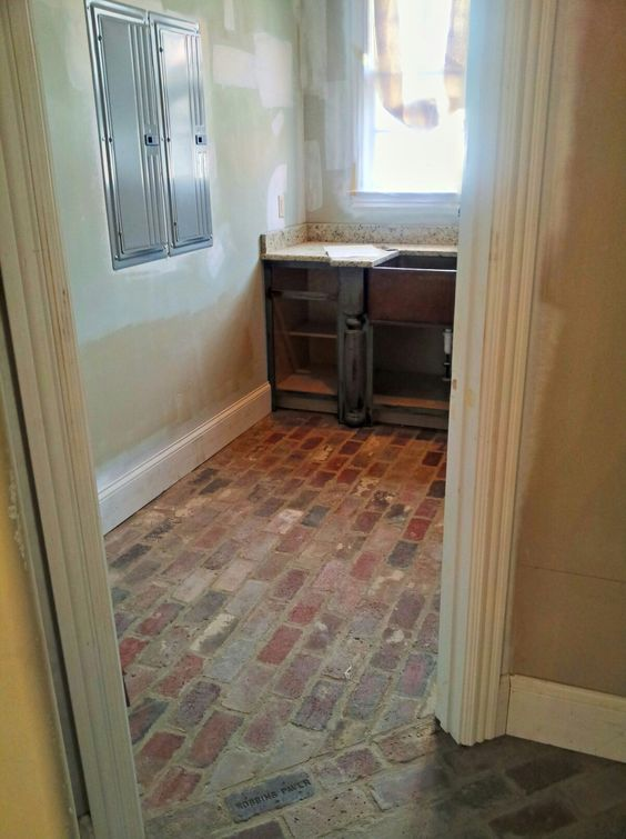 Brick floor laundry room house interior ideas - Laundry room flooring ideas ...