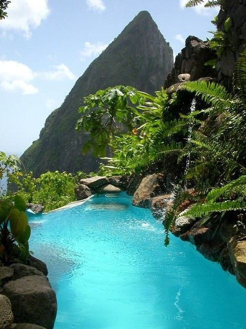 St.Lucia.Part of the Lesser Antilles, this rock sits in the eastern part of the Carribean Sea near the Atlantic Ocean