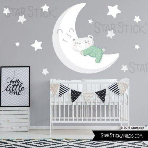 Vinilo bebé Osito en la luna blanca - Vinilo infantil en ...