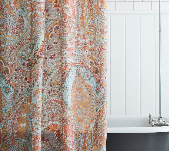 Paloma Print Shower Curtain Pottery Barn Coral Shower Curtains Boho Shower Curtain Paisley Shower Curtain