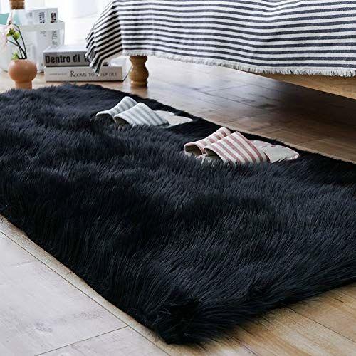 Black Fur Rug Bedroom In 2020 Fur Rug Bedroom Bedroom Rug Plush Sofa