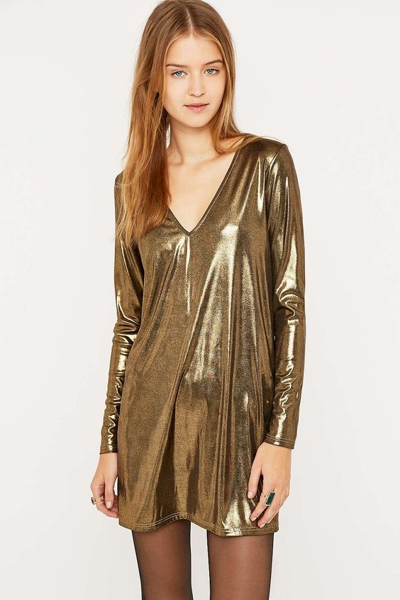 Urban Renewal Vintage Remnants V-Neck Metallic Gold Dress