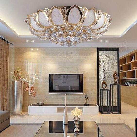 Moderna flor de loto e14 oro cristal de l mpara de techo para el dormitorio sala de estar - Lampara de techo para dormitorio ...