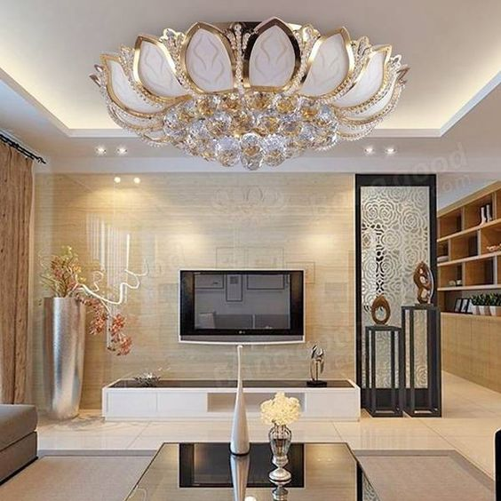 Moderna flor de loto e14 oro cristal de l mpara de techo - Lamparas de dormitorio de techo ...