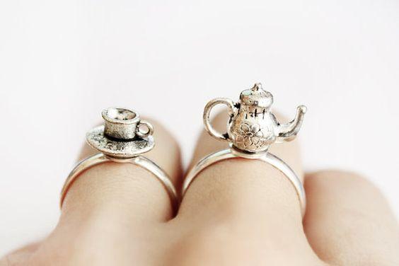 Teapot / Teacup Ring  Alice in Wonderland jewelry  by LoveNoir, $12.50