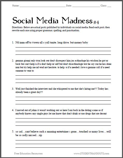 Printables Free Middle School Grammar Worksheets social media madness worksheet 4 fourth free printable in this series sure to excite the interest of junior and senior high sch
