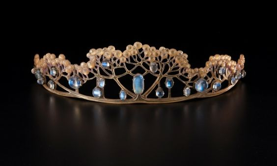 Tiara of horn and moonstone made by FJ Partridge for Liberty & Co