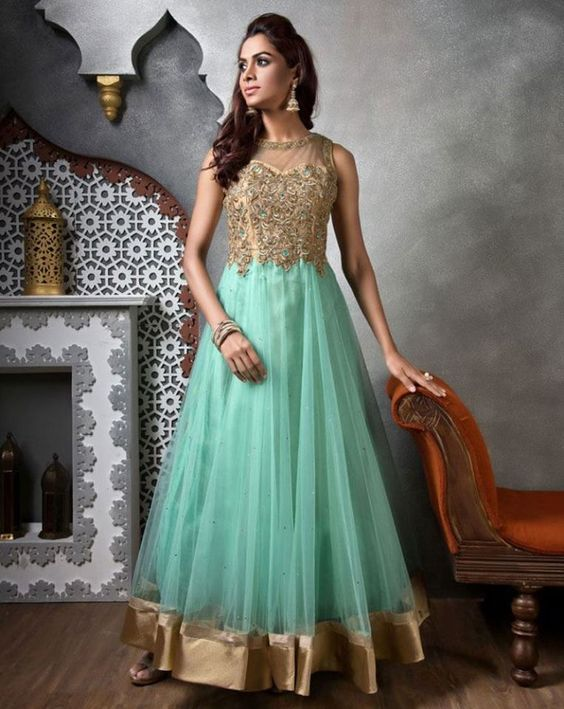 Sway away everyone with your simplicity when you wear this charming anarkali. Buy Anarkali online - http://www.aishwaryadesignstudio.com/wedding-wear-beige-green-anarkali-suit-2