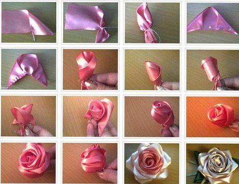 Flores de tela para tocados o adornos para el cabello.