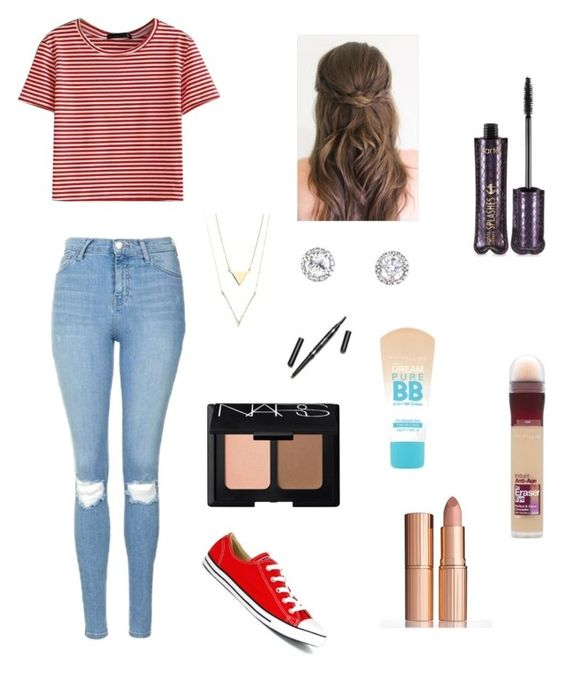 """BTS First Day Or Picture Day"" by camyelle on Polyvore featuring WithChic, Topshop, Converse, tarte, Maybelline, NARS Cosmetics and Charlotte Tilbury"
