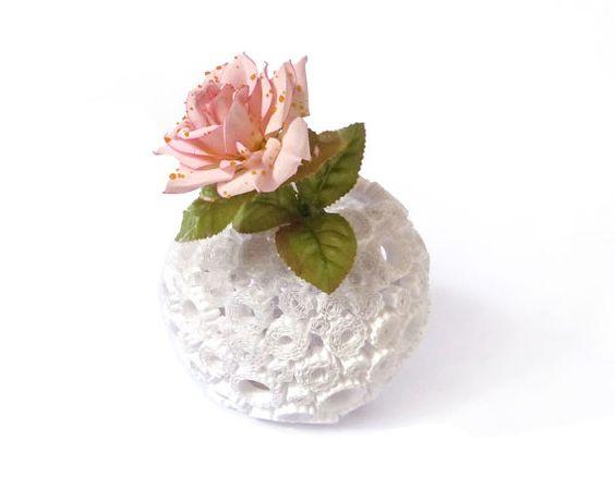 Soporte blanco redondo florero reciclado por PensieriCreativi