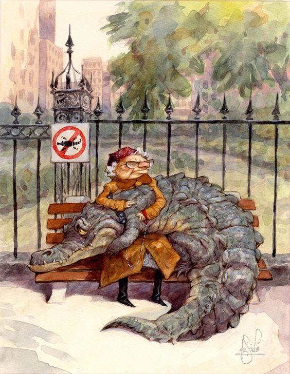 This is a portrait of me, when I'm old. Yes, I will have a pet crocodile. His name will be Herbert. You just try to take Herbert away from me, young little shits. You just try it.:
