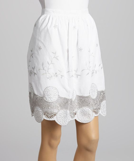 Look at this #zulilyfind! Purple Clover White Lace Embroidered Johney Skirt by Purple Clover #zulilyfinds