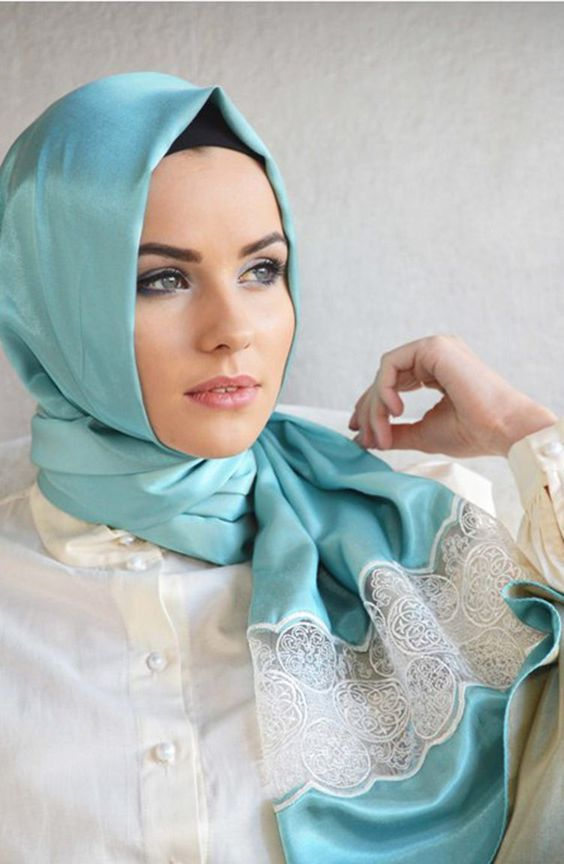 Blue Turkish Hijab Knot Style