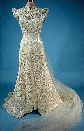 c. 1940's Wedding Gown of Candlewhite Satin and Lace with Original Satin Sandals, Gauntlet Lace Gloves and Original JAY THORPE Headpiece with Tulle Short Veil