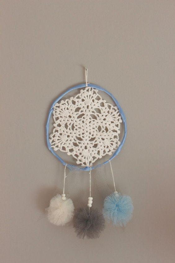Handmade dreamcatcher blue grey & white //  Poms par GraceetRose, €14.00