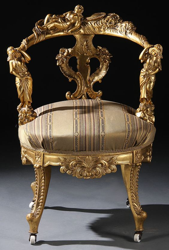 The gold on this chair pulls influences from Rococo but the shape of the chair is common for this period.