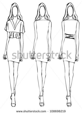 Sketch of fashion girl dress flower style