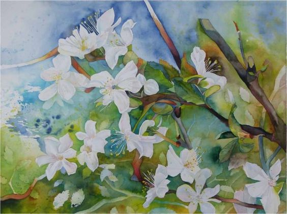 Uncontrolled growth in the fruit blossom © #watercolor by Frank  Koebsch,  56 x 76 cm, on Hahnemühle mold-made watercolor paper 600 g/m2 Leonardo, $1100; More information about the watercolor can be found at http://frankkoebsch.wordpress.com/2012/05/16/wildwuchs-in-der-obstblute-aquarell-von-frank-koebsch/