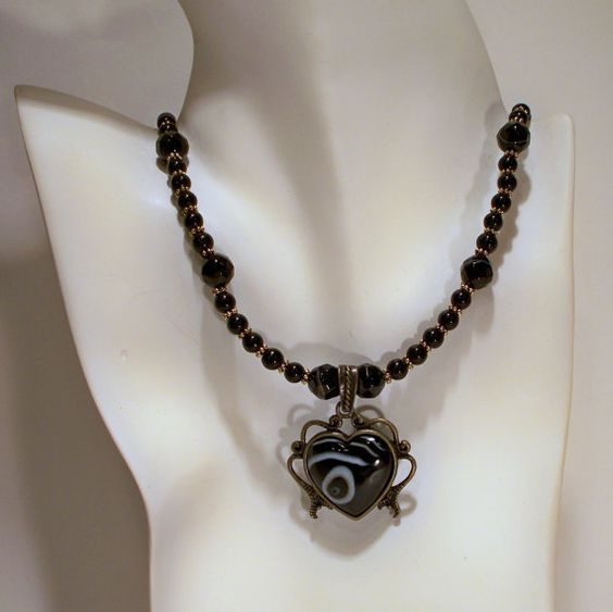 Black Agate Heart Pendant Necklace by tbyrddesigns on Etsy, $39.00
