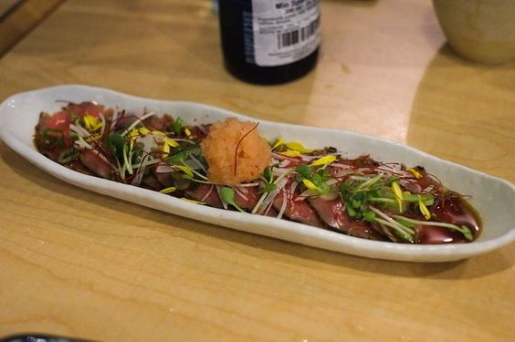 Great (but expensive) dinner last night at #Kinome. #Grassfed #Organic #BeefTataki with Spicy Radish and #Ponzu. So tender and tasty. #tataki #kinomejapanesekitchen How expensive? Came out to $77 per person before gratuity  and we could've easily spent more. (One of us ate that Community Pizzeria pizza at Brassneck afterwards !) But no complaints about the food. Everything we had was good quality friendly service but the pacing of dishes was a tiny bit slow towards the middle/end. But love…