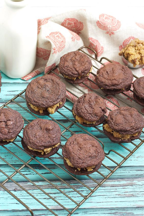 Double Chocolate Peanut Butter Cookie Dough Sandwich Cookies from The Girl In The Little Red Kitchen