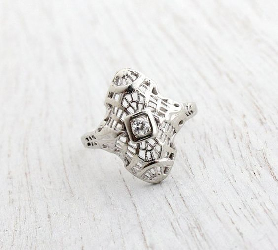 SALE Antique 10K White Gold Diamond Ring  Art by MaejeanVintage, $225.00