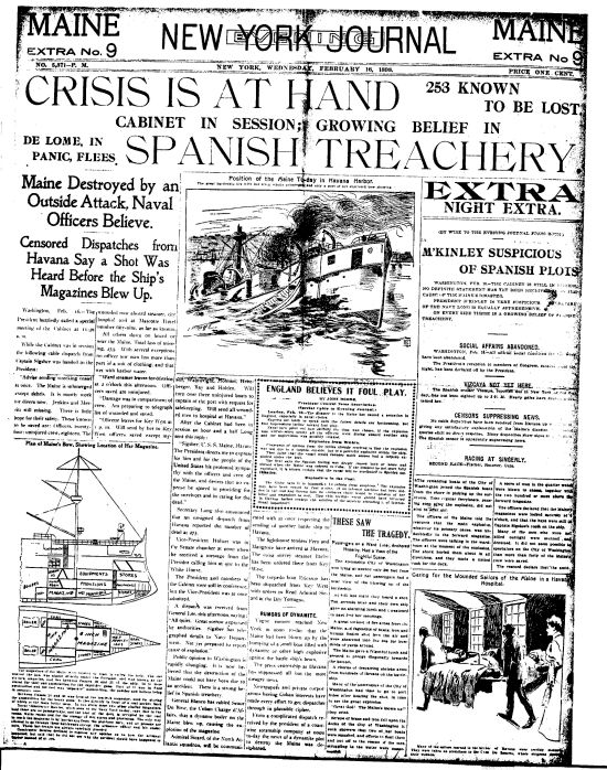headline from the spanish american war period uss maine yellow journalism history. Black Bedroom Furniture Sets. Home Design Ideas