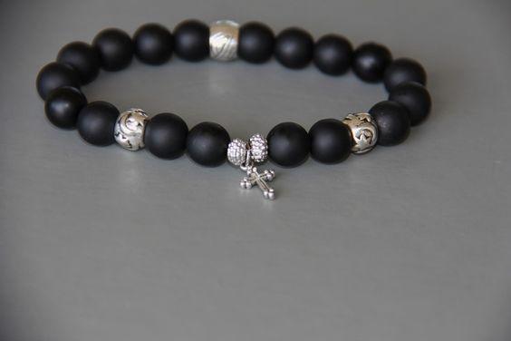 bracelet homme croix et perles noires mates ,perles tibétaines : Bracelet par made-with-love-in-aiacciu