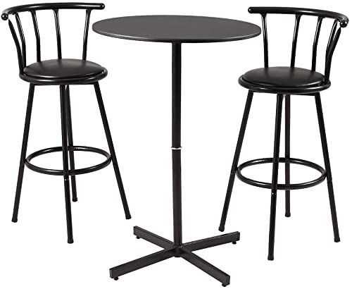 Best Seller Amerlife Bar Table Set 3 Piece 2 Crown Back 29 Height Bar Stools Bistro Pub Swivel Table Chairs Set Dining Kitchen Furniture Black Online Nic In 2020 Bar
