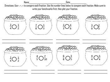 math worksheet : comparing fractions st patrick s day  fractions number lines  : Comparing And Ordering Fractions Worksheets 4th Grade