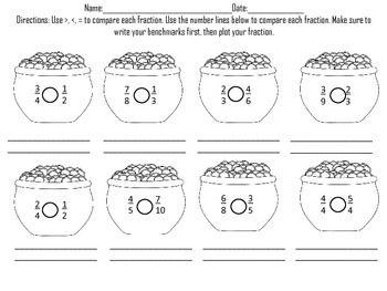 math worksheet : comparing fractions st patrick s day  fractions number lines  : Comparing Fractions Using A Number Line Worksheets