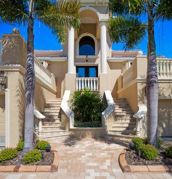 Latte trim color and exterior design on pinterest for Mediterranean stucco