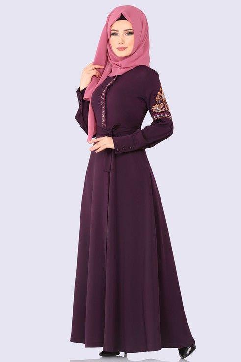 Modaselvim Ferace Nakis Detay Kemerli Ferace 8859w153 Murdum Islami Moda Moda Stilleri The Dress