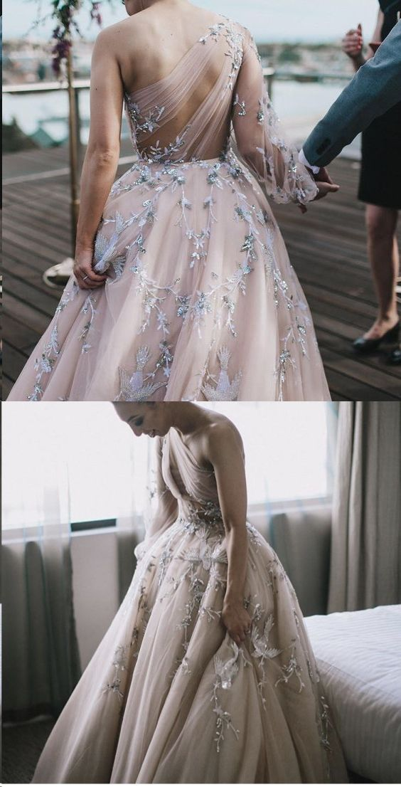 Unique Long Sleeve Prom Dresses One Shoulder A-line Sparkly Prom Dress Long Wedding Dress