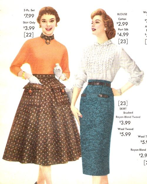 1957 Tweed Swing And Pencil Skirts Autumn Outfit Ideas 1950s Outfits Vintage Style Outfits Fashion