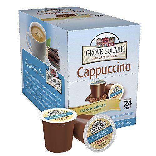Grove Square Cappuccino, French Vanilla, 24 Count Single Serve Cups, http://www.amazon.com/dp/B005K4Q1YA/ref=cm_sw_r_pi_awdm_XTxmxb1S8BF5B