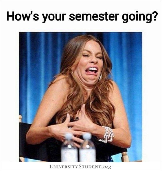 How S Your Semester Going Studentlife Helpme Graduate School Humor School Humor Student Memes