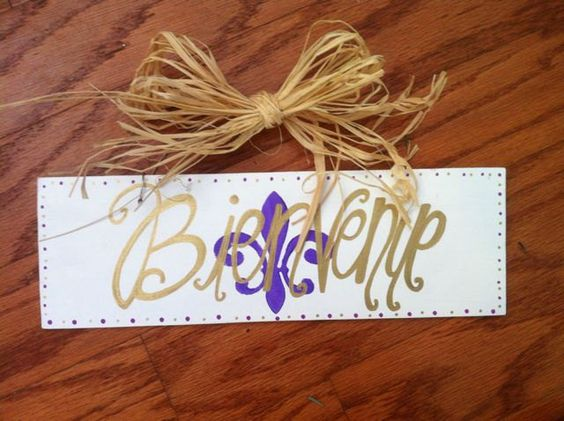 Bienvenue - A Southern Welcome Hand Painted Sign with a Fleur de Lis. Wedding Gift, Door Sign, Wedding Decoration. $25.00, via Etsy.