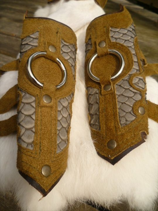 olive green and carp leather cuffs!!