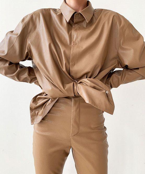 Рубашка О-силуэта из эко-кожи | показать все товары | USHATÁVA